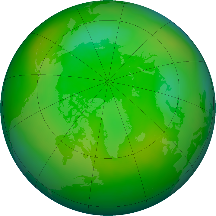 Arctic ozone map for July 2010