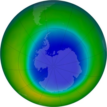 Antarctic ozone map for 2010-09
