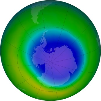 Antarctic ozone map for 2010-10