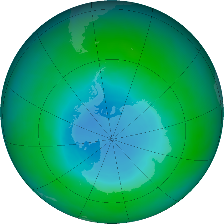 Antarctic ozone map for December 2010