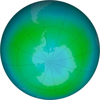 Antarctic ozone map for 2011-01