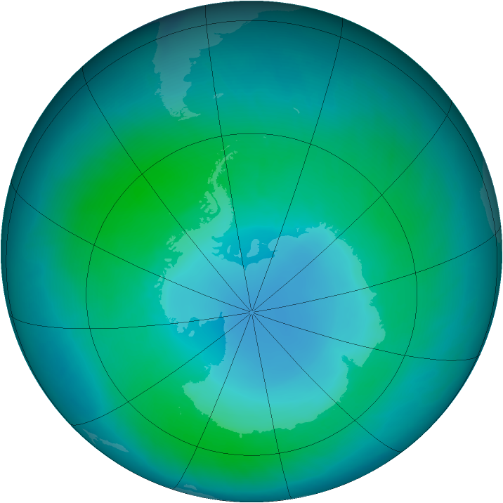 Antarctic ozone map for February 2011