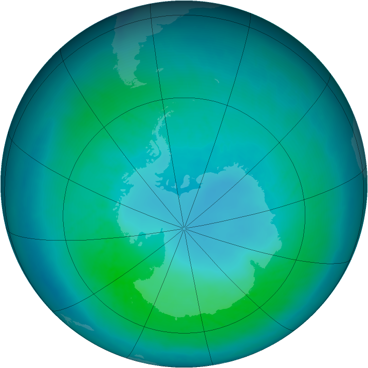 Antarctic ozone map for March 2011