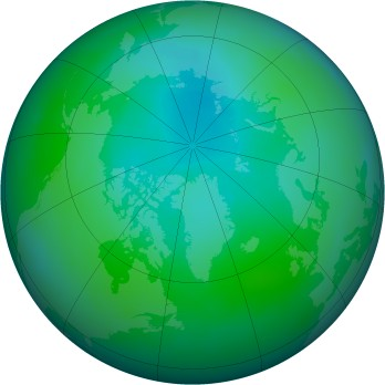 Arctic ozone map for 2011-08