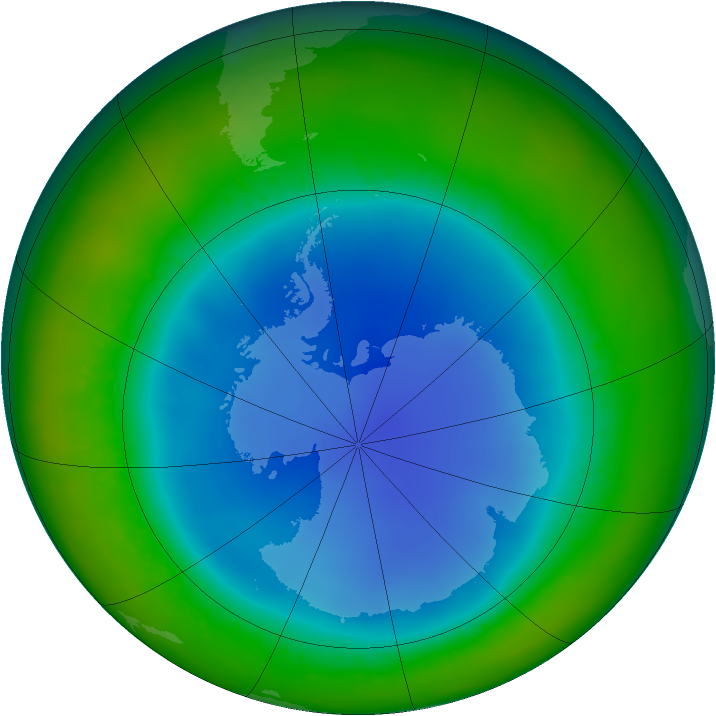 Antarctic ozone map for August 2011