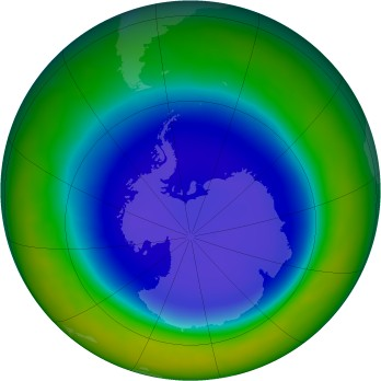 Antarctic ozone map for 2011-09
