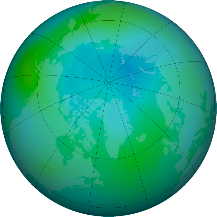 Arctic ozone map for September 2011