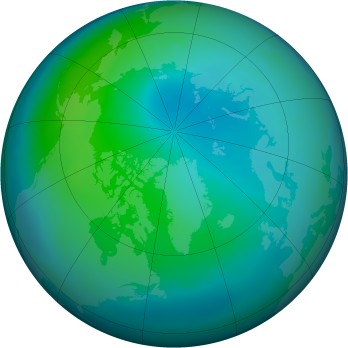 Arctic ozone map for 2011-10