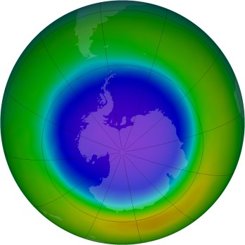 Antarctic ozone map for 2011-10