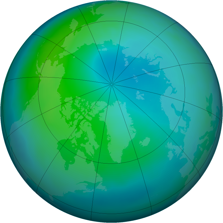 Arctic ozone map for October 2011