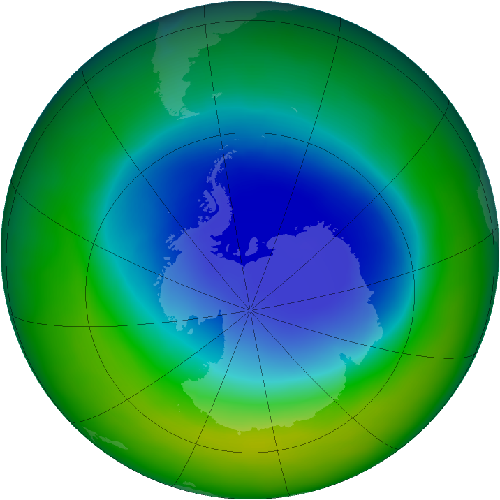 Antarctic ozone map for November 2011