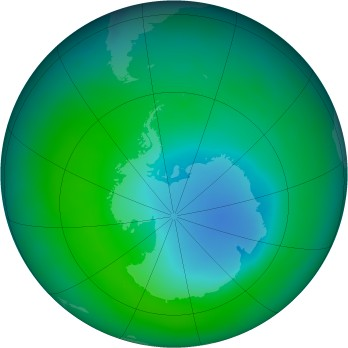 Antarctic ozone map for 2011-12