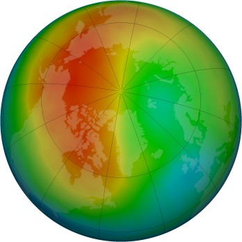Arctic ozone map for 2012-01