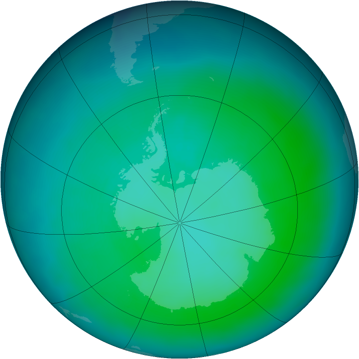 Antarctic ozone map for January 2012