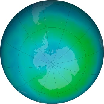Antarctic ozone map for 2012-02