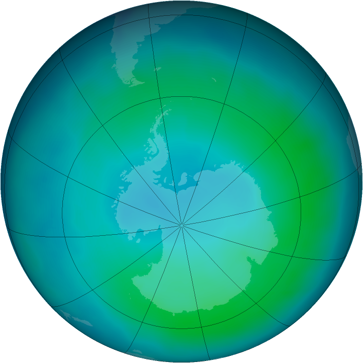 Antarctic ozone map for February 2012