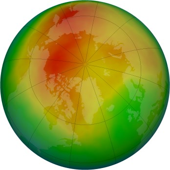 Arctic ozone map for 2012-03