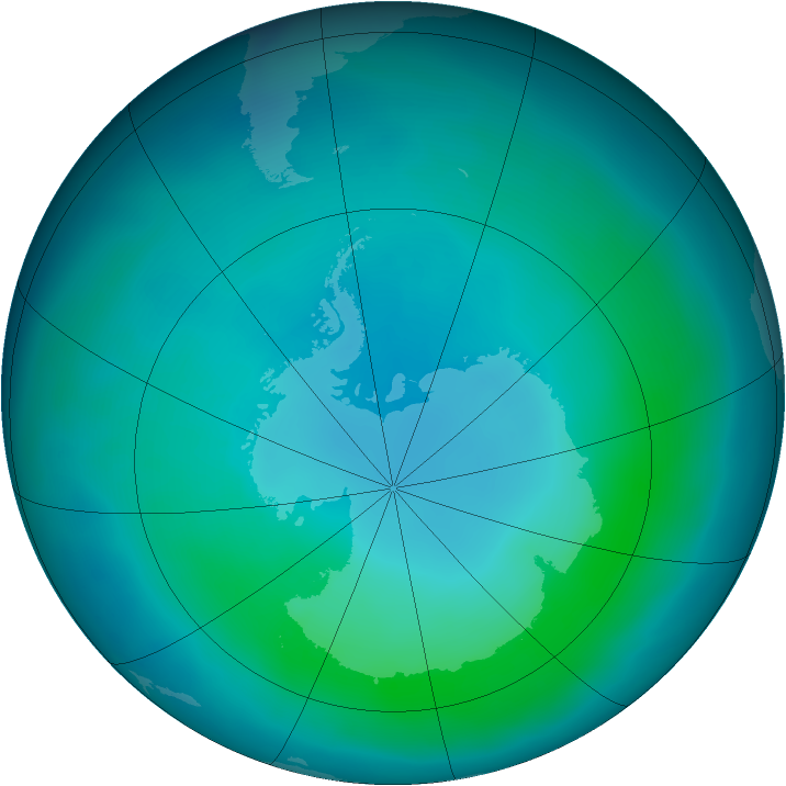 Antarctic ozone map for March 2012