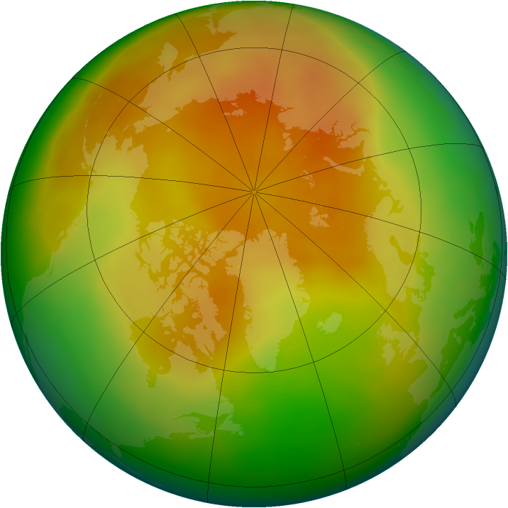Arctic ozone map for April 2012