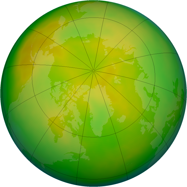 Arctic ozone map for May 2012