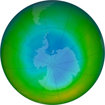 Antarctic ozone map for 2012-08