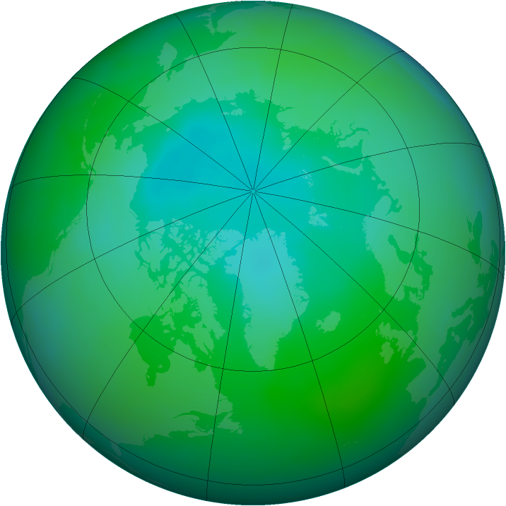 Arctic ozone map for August 2012