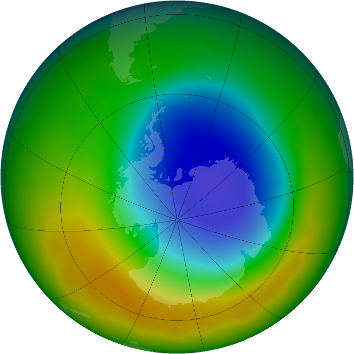 Antarctic ozone map for October 2012