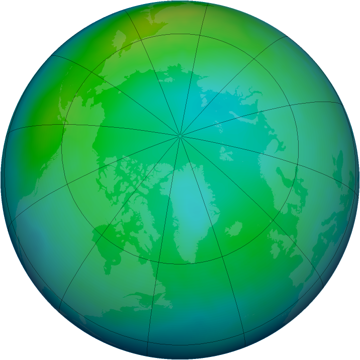 Arctic ozone map for November 2012