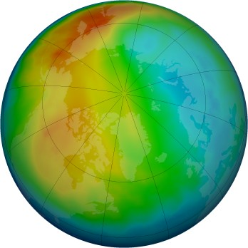 Arctic ozone map for 2012-12