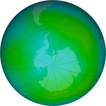 Antarctic ozone map for 2012-12
