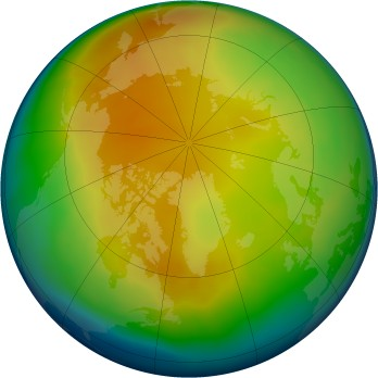Arctic ozone map for 2013-01
