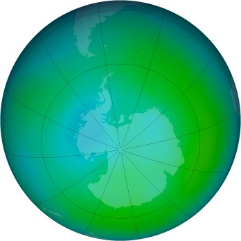 Antarctic ozone map for 2013-01