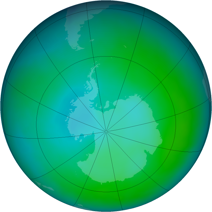 Antarctic ozone map for January 2013