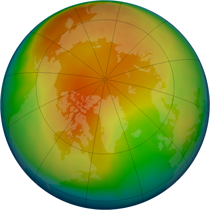 Arctic ozone map for February 2013