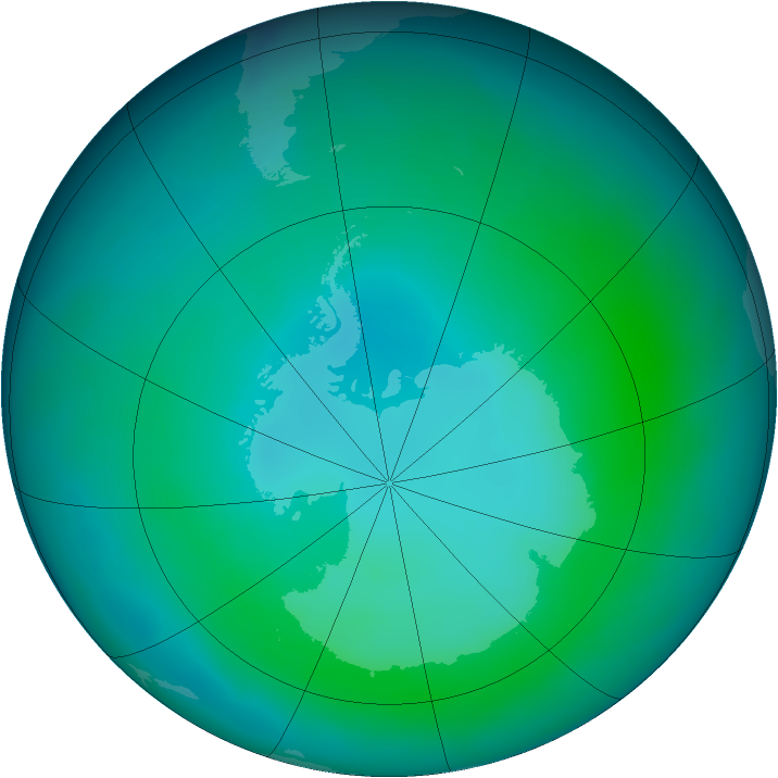 Antarctic ozone map for February 2013