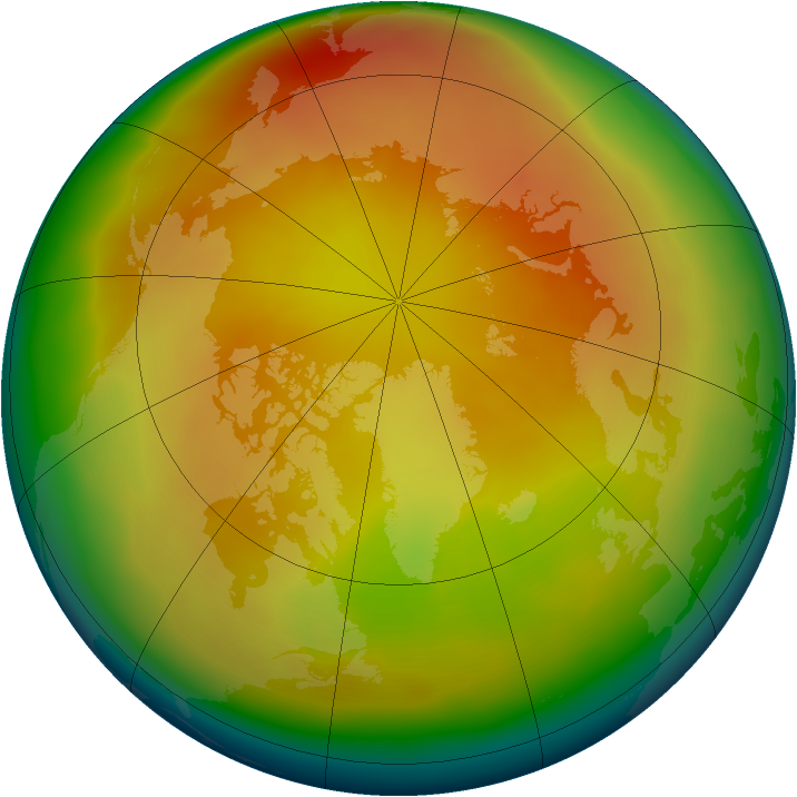 Arctic ozone map for March 2013
