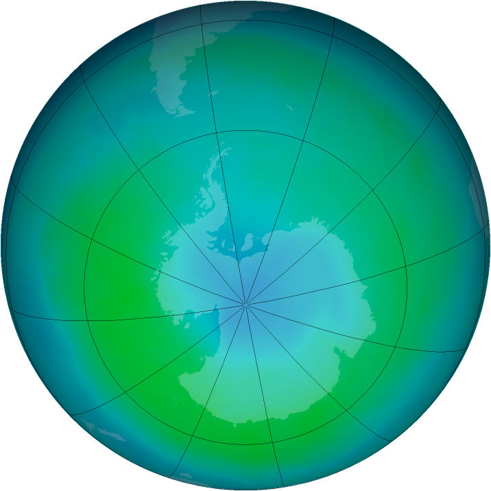 Antarctic ozone map for March 2013
