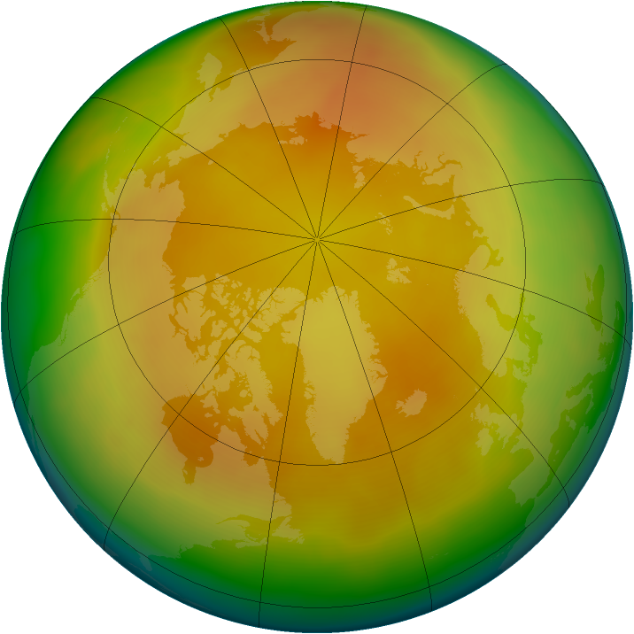 Arctic ozone map for April 2013