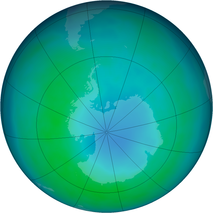 Antarctic ozone map for April 2013