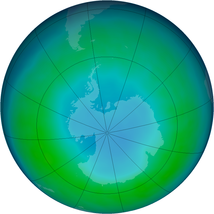 Antarctic ozone map for May 2013