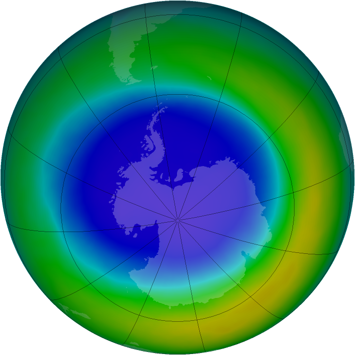 Antarctic ozone map for September 2013