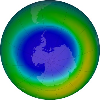Antarctic ozone map for 2013-09