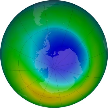 Antarctic ozone map for 2013-10