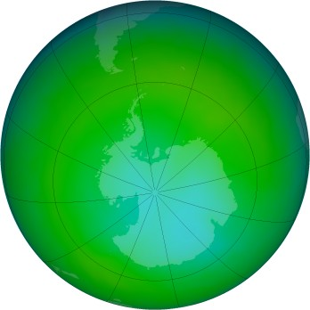 Antarctic ozone map for 2013-11