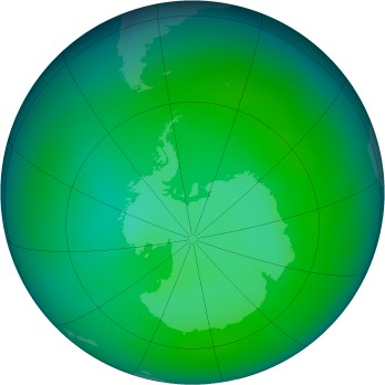 Antarctic ozone map for 2013-12