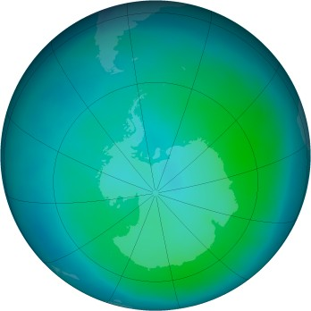 Antarctic ozone map for 2014-02