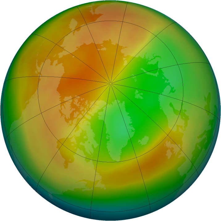 Arctic ozone map for February 2014