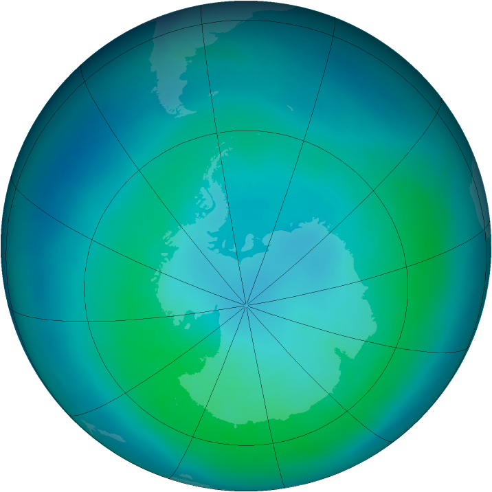 Antarctic ozone map for March 2014