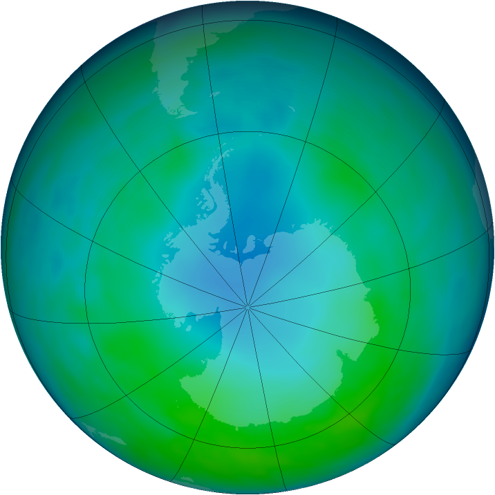 Antarctic ozone map for May 2014