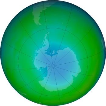 Antarctic ozone map for 2014-06